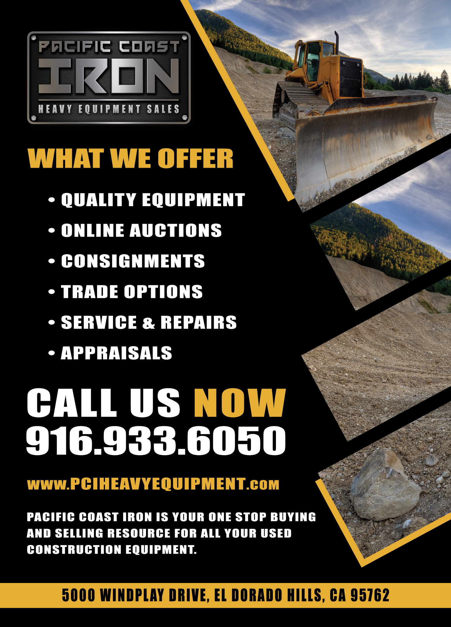 Pacific coast iron website design front street media for Heavy equipment business cards