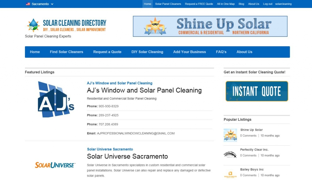 Solar Cleaning Directory Website Design